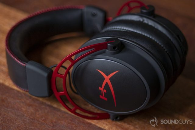 A photo of the HyperX Cloud Alpha on mahogany.
