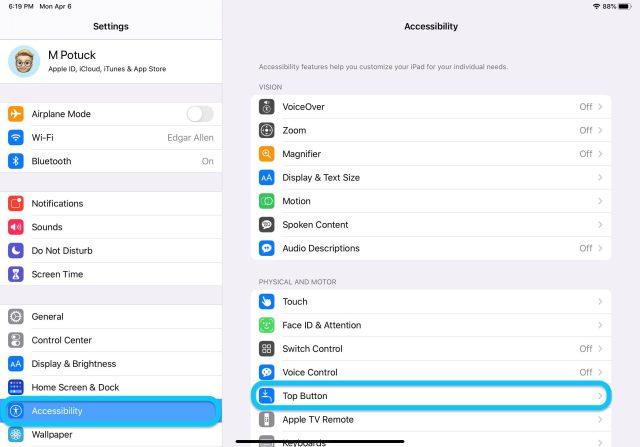 Comment personnaliser le bouton supérieur de l'iPad Pro - Procédure pas à pas 1