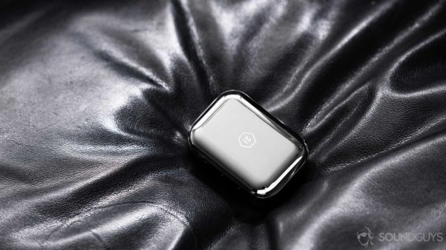 A picture of the Master & Dynamic MW07 Plus metal charging case.