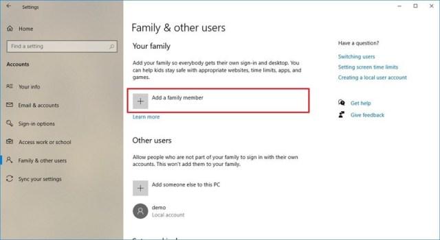 Account settings family account