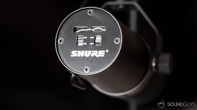 A photo of the Shure SM7B dynamic microphone's' frequency response illustration on the back of the microphone. This is much more expensive than the Shure SM58, and is an endgame product for most users.