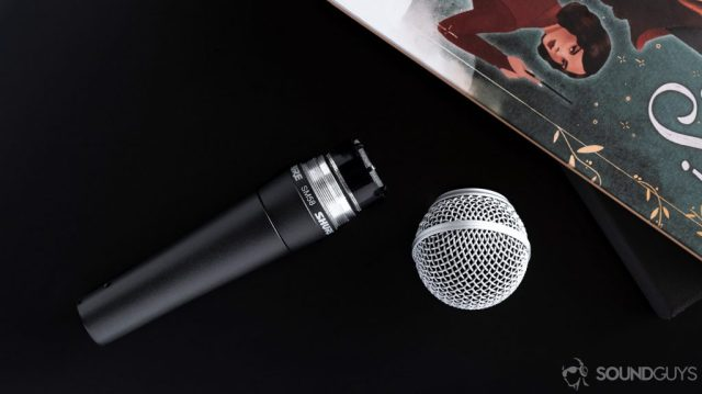 The Shure SM58 grille detached from the microphone stem.