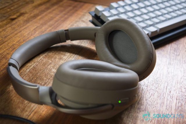 A photo of the Sony WH-1000X M2 wireless Bluetooth headphones on their backs, showing the drivers and ear cups.