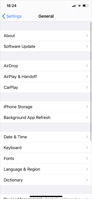 Software Update option in General Settings on iPhone