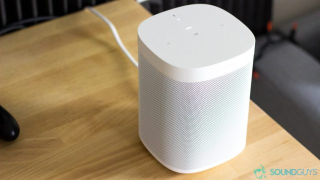 The Sonos One on a table.