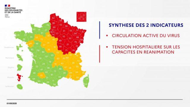 La carte du déconfinement en France du vendredi 1er mai 2020.