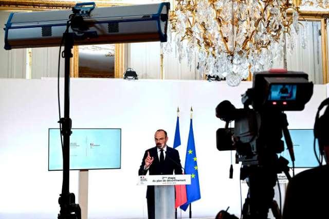 Edouard Philippe lors de son allocution télévisée pour annoncer la deuxième phase du déconfinement, à Paris, le 28 mai.