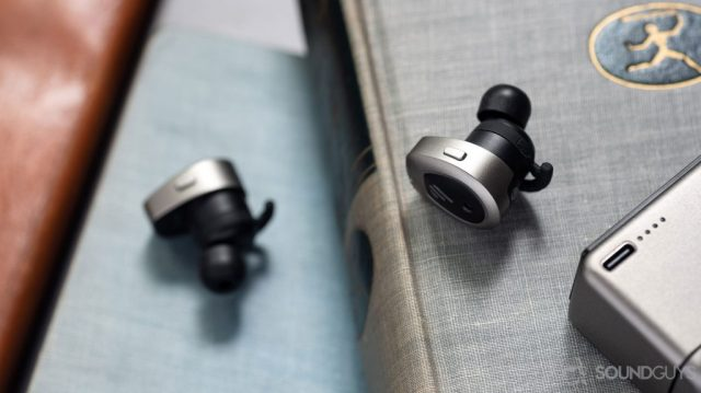 A picture of the Edifier TWS NB true wireless noise cancelling earbuds onboard controls with the USB-C input on the charging case visible in the bottom-right corner.