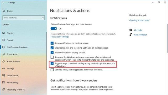 Windows 10 version 2004 notification settings