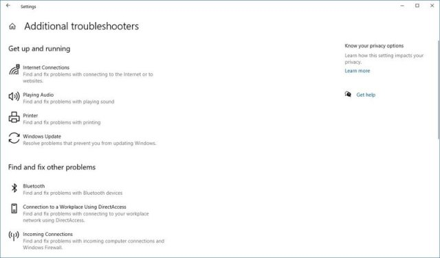 Windows 10 Additional troubleshooters page on version 2004