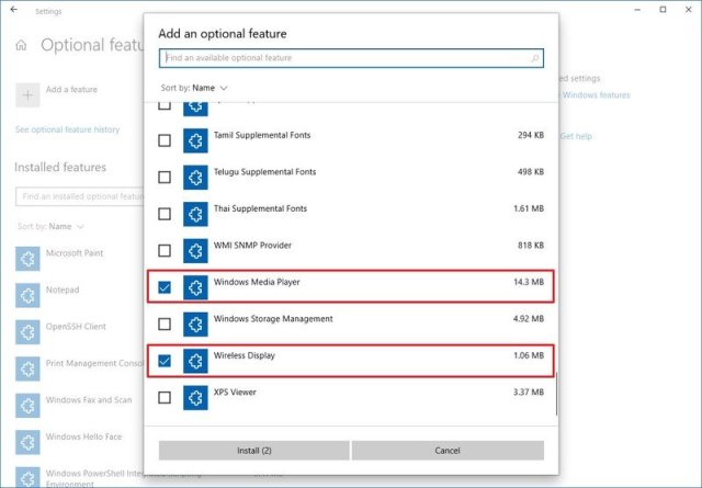 Windows 10 Optional features page