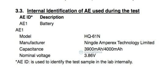 Samsung Galaxy M01 FCC Certification Battery Capacity