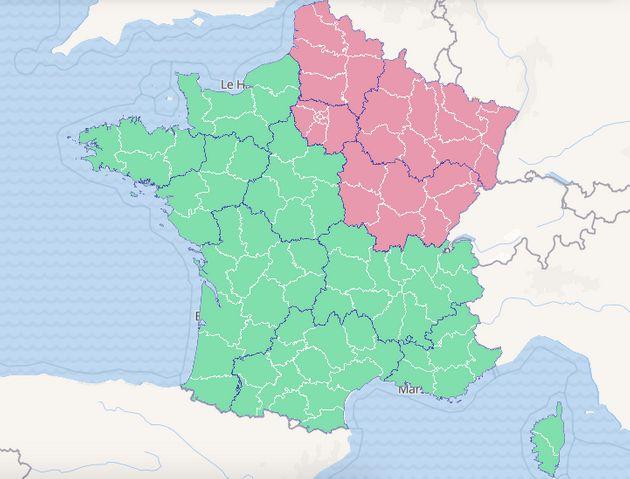 Voici la carte d'activité épidémique du covid-19 à quelques minutes du début du discours d'Édouard Philippe...
