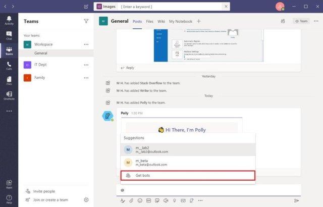 Microsoft Teams install bots