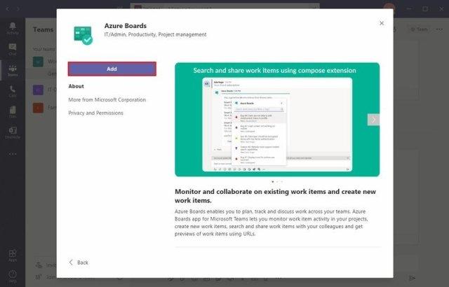 Microsoft Teams add bot option