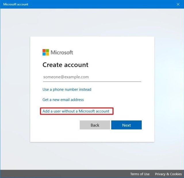 Add a user without a Microsoft account option
