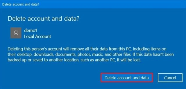 Delete account and data option on Windows 10