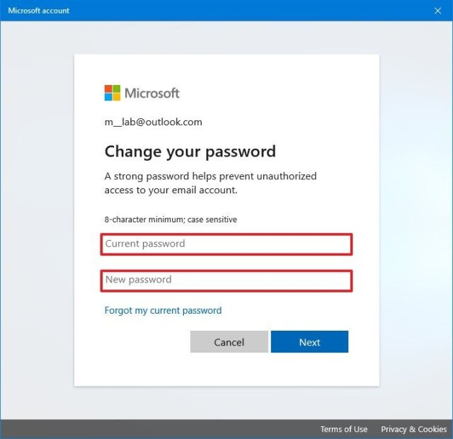 Confirm new password for Windows 10