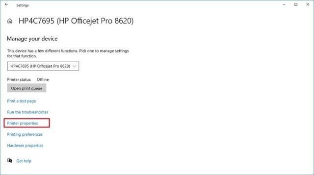 Windows 10 printer properties option