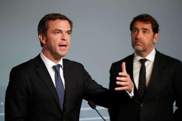 Le ministe de la santé, Olivier Véran, et le ministre de l'intérieur, Christophe Castaner, à l'Elysée, le 2 mai.