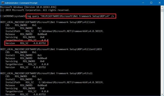 Check version of .NET Framework