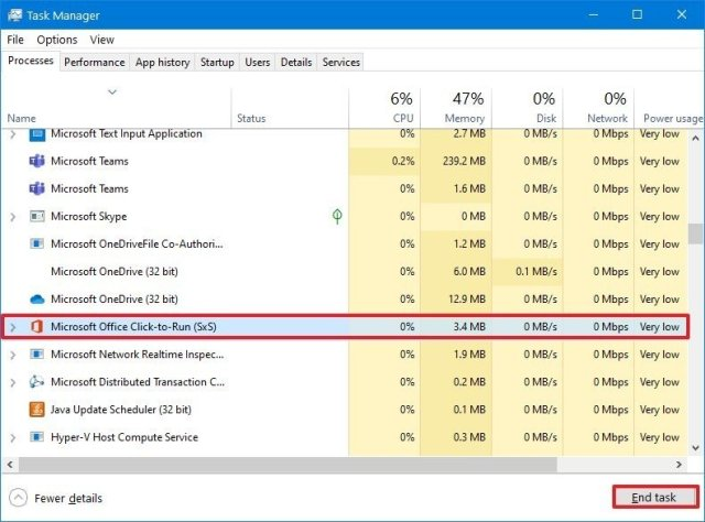 Task Manager terminate conflicting app