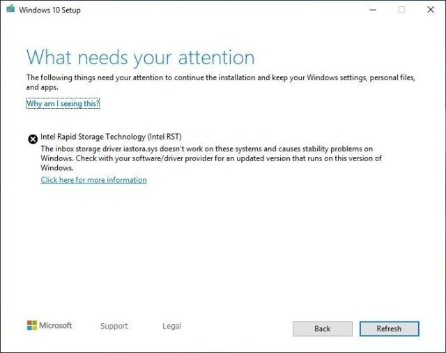 Windows 10 Setup what needs your attention message
