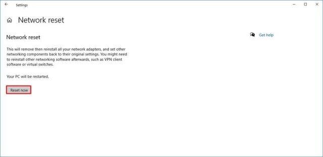 Windows 10 reset network option