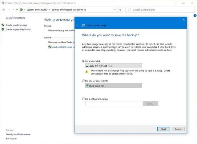 Windows 10 legacy backup option