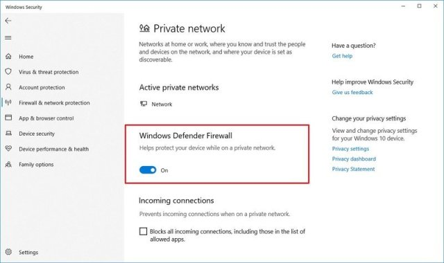 Windows Defender Firewall disable option