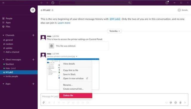 Slack delete file option