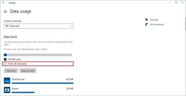 Windows 10 data usage remaining allowance