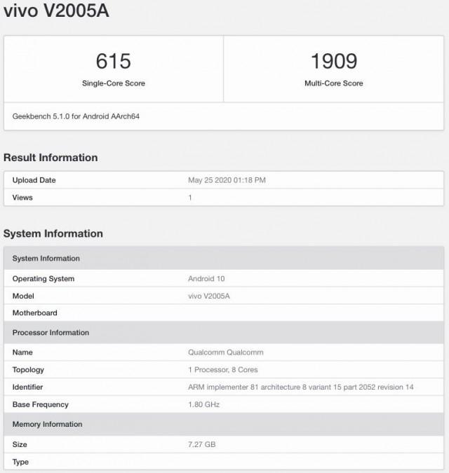 vivo X50 Geekbench listing