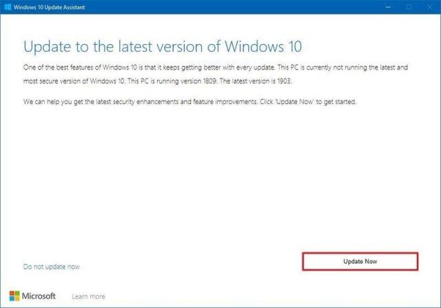 November 2019 Update install using Update Assistant