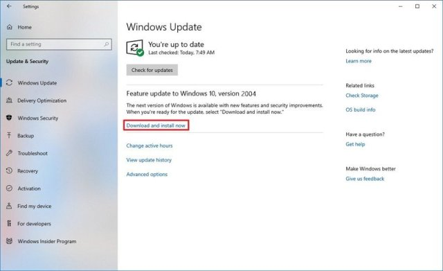 Windows update download and install option