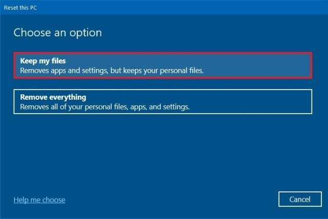Reset this PC keep my files option
