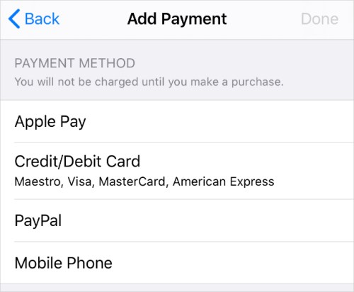 Payment method options in Apple ID settings