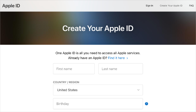 Create Your Apple ID page from Apple ID website