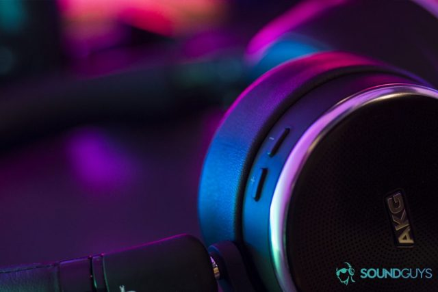 A photo of the AKG N60 NC in colored light.