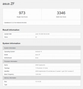 Asus ZF with a Snapdragon 865 and 16 GB of RAM passes through Geekbench