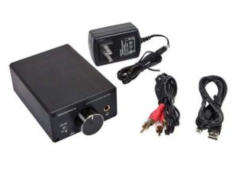 Monoprice headphone amp with included power adapter, RCA, and USB cables.