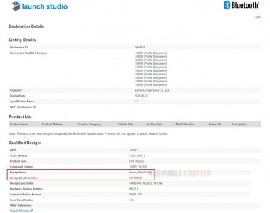 Bluetooth certification for the SM-N986U - ''Samsung Galaxy Note20 Ultra''
