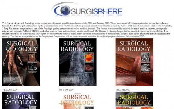 Capture d\'écran de la page du site de Surgisphere présentant ses anciennes revues médicales, le 5 juin 2020