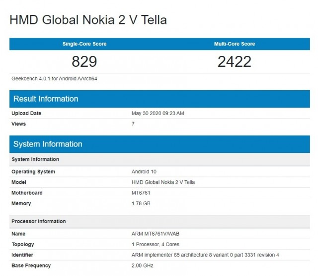 Nokia 2V Tella on Geekbench