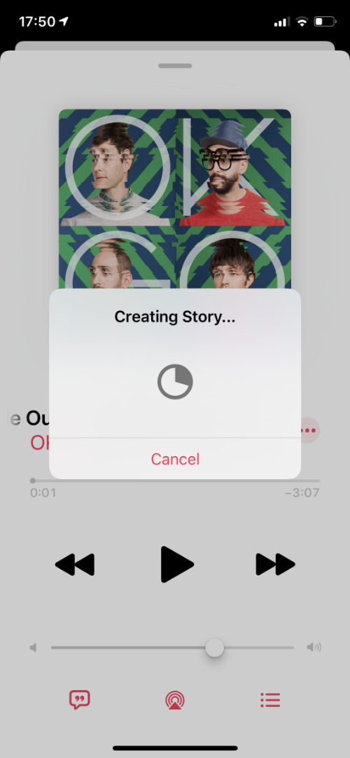 Creating Instagram story from Apple Music