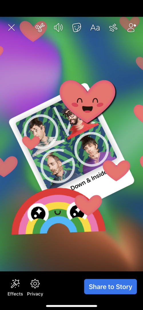 Facebook story with stickers