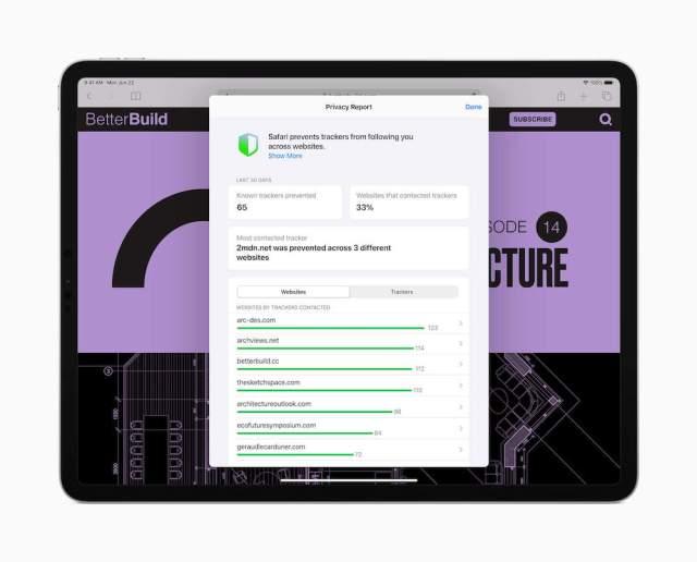iPadOS 14 Safari Privacy Report