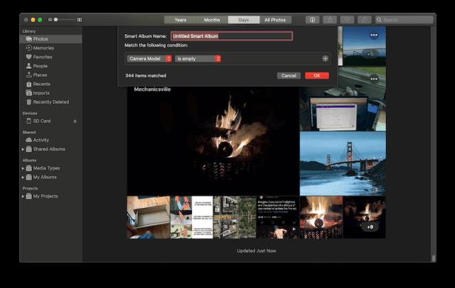 Create new troubleshooting Smart Album in Photos on Mac