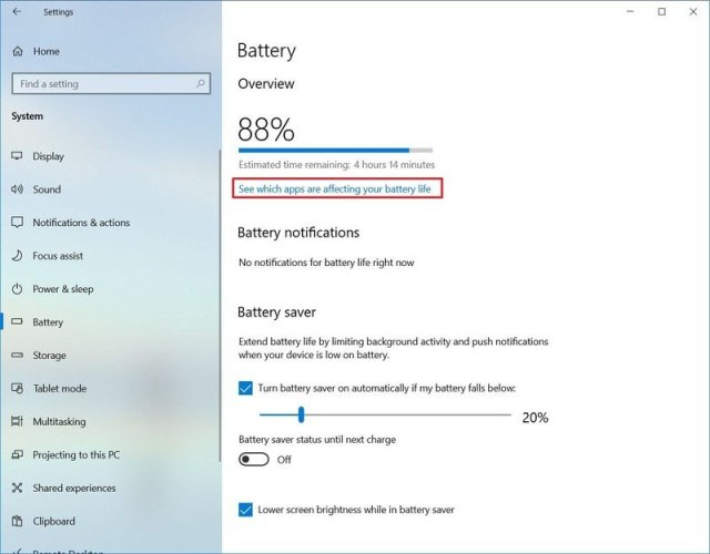See which apps are affecting battery life option