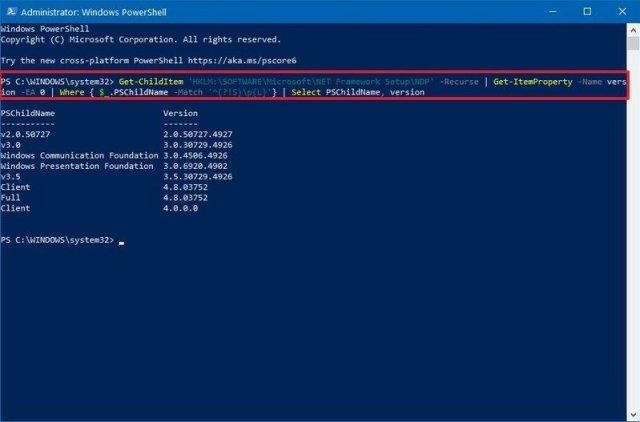 Powershell Find Dot Net Versions